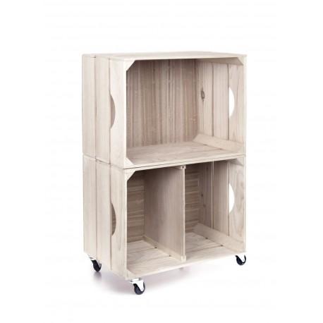 Estanteria con varios modulos, ruedas, cajas de madera