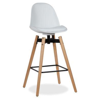 Taburete Rysto, Superstudio, asiento polipiel, color blanco