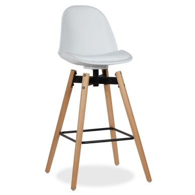 Taburete Rysto, Superstudio, asiento polipiel, color blanco